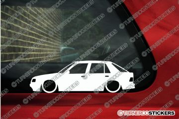 2x Lowered car outline stickers - Peugeot 309, 5-door